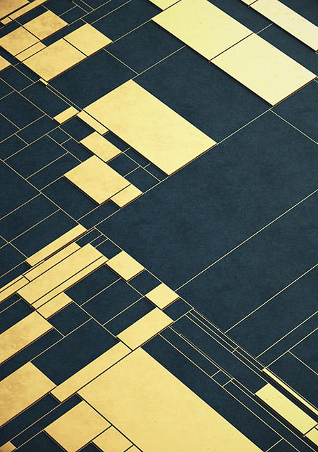 Navy/Gold Geometric Grid