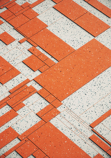 Marble/Orange Geometric Grid